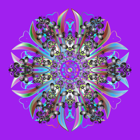 Christmas Stylized violet, gray and blue Snowflakes on a violet, gray and blue colors. Raster illustration.