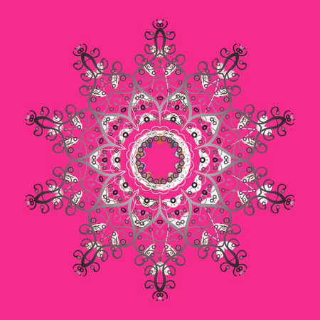 Contour pink, gray, and white mandala shaped snowflakes for art therapy style zen drawing hand drawn, stylish doodle in tatto style, fabric design, and cards in raster illustration. Illustration