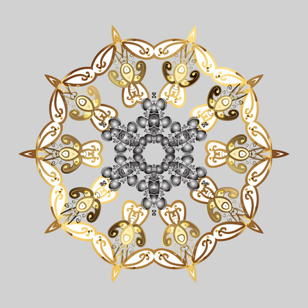 Nice abstract snowflakes raster design. Flat snow doodle icons, snow flakes silhouette in gray, white and brown colors for christmas banner, cards. New year snowflake.
