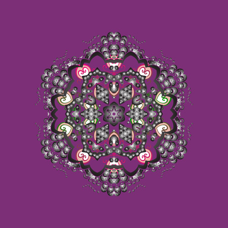 Winter snowflake, raster background. Isolated nice snowflakes on colorful background. Repeated texture for surface, wrapping paper, on purple, gray and neutral colors. Raster illustration.