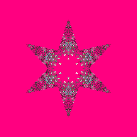 Symbol of winter, Merry Christmas holiday, Happy New Year celebration Raster. Snowflake simple. Abstract wallpaper, wrapping decoration. Magenta, gray and purple snow on magenta, gray, purple colors.