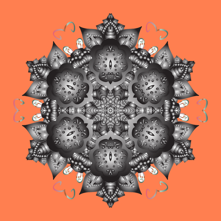 Flat lay. Winter pattern made of snowflake on orange, gray and neutral colors. Winter concept. Raster illustration.