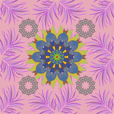 Raster seamless Beautiful fabric pattern. Flower pattern. Flat Flower Elements Design. Colour Spring Theme seamless pattern Background. Illustration