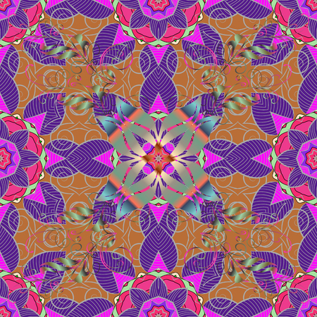 Raster illustration. Vintage retro style. Seamless pattern with colorful paisley, violet, brown and gray flowers and decorative elements. For print on fabric, textiles, wallpaper. Seamless background.