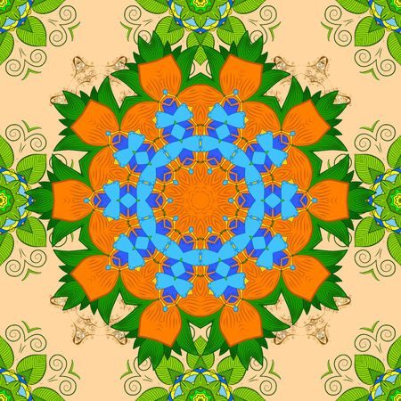 Raster abstract stylized colored mandala. Intricate colored Arabesque with on a beige, green and orange colors. Illustration