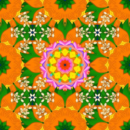 Raster illustration. Rich ethnic striped seamless pattern geometric design. Colored mandala on orange, green and yellow colors. Mandala style. Illustration