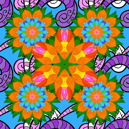 Raster gift voucher template with mandala ornament on a orange, blue and green colors.