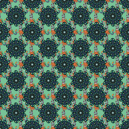 Millefleurs. Floral sweet seamless background for textile, fabric, covers, wallpapers, print, wrap, scrap booking, decoupage. Pretty vintage feed sack pattern in small green, black and blue, flowers.