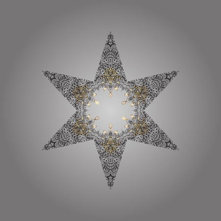 Gray, brown and beige snowflakes on a gray, brown and beige colors. Raster illustration. Isolated cute snowflakes on colorful background. Snowflake raster pattern. Illustration