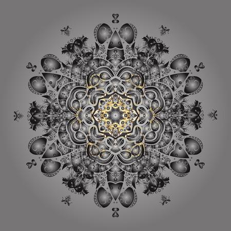 Raster illustration. Christmas doodle pattern with snowflakes, raster background. Illustration