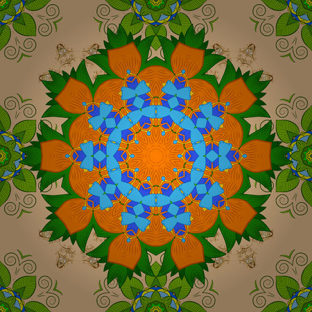 Hand drawn raster colored Mandala seamless pattern. Magic vintage template of greeting, print, cloth. Arabic, indian, turkish, ottoman culture style. Ethnic ornament on beige, green, orange colors.