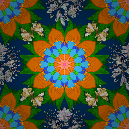 Decorated card with mandala in colored colors on blue, orange and green colors. Raster islamic template for restaurant menu, greeting card, brochure, book cover and any other decorations.