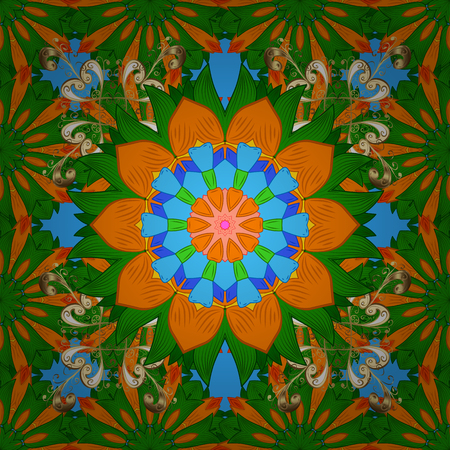 Raster vintage pattern. Mandala colored on a green, orange and blue colors. Invitation card.