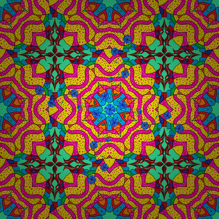 Abstract Mandala. Vintage decorative elements. Oriental colored pattern on yellow, magenta and green colors. Islam, Arabic, Indian, turkish, pakistan, chinese, ottoman motifs. Raster illustration. Illustration