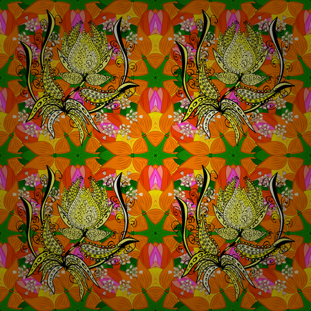 Art, round, colorful ornament on a orange, yellow and green colors. Ornate, eastern mandala with colored contour.