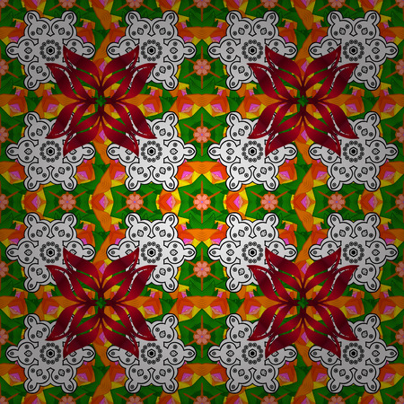Traditional indian style, floral elements for henna tattoo, colored stickers, flash temporary tattoo, mehndi, yoga design, prints. Raster sketch of colored mehndi mandala on white, orange, green. Illustration