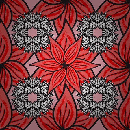 Template Colored mandala raster circle of hand drawn on pink, gray and red colors.