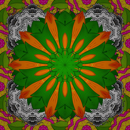 Hand-drawn raster mandala with colored abstract pattern on a green, orange and white colors. Bag design.