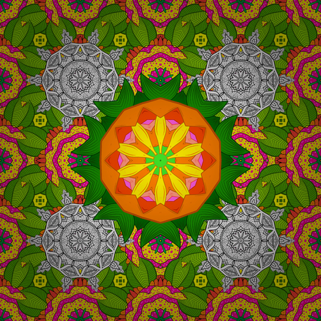 Raster Mandala. Tiled mandala design, best for print fabric or papper and more. Green, yellow and white colors. Boho style flower seamless pattern.