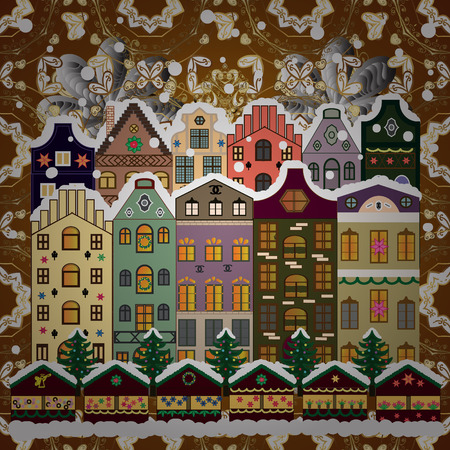 Village winter landscape with snow cove houses and christmas tree with Christmas presents. Raster illustration.