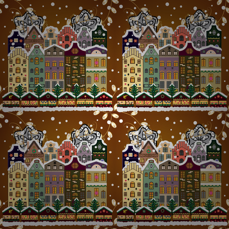 Christmas landscape flat. Greeting card. Raster illustration.