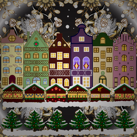 Nature landscape. Winter is coming. Over a background. Landscape with nature and houses. Raster illustration. Winter city with trees, cute houses. Holidays Raster illustration. Illustration