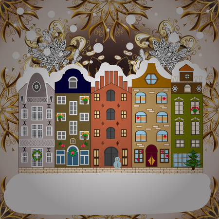 Winter house. Christmas and Happy New Year greeting card. Flat Raster illustration.