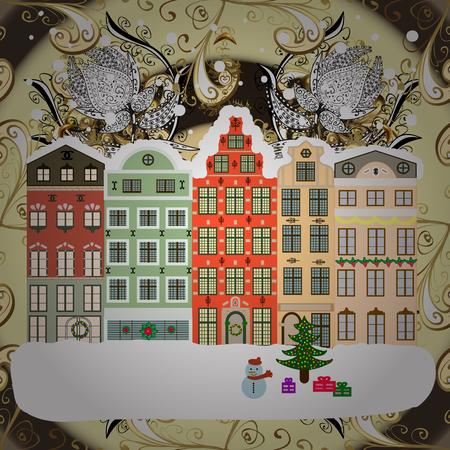 Greeting card. Raster illustration. Christmas landscape flat.