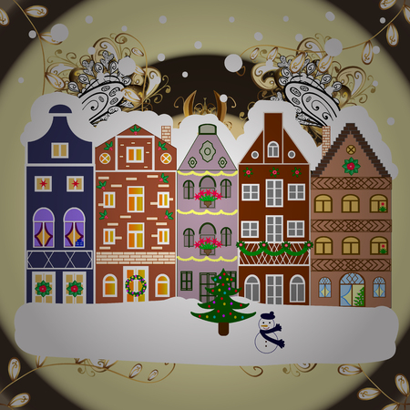 Village in Christmas, banner on background with snow and snowflakes. Greeting card. Raster illustration. Illustration