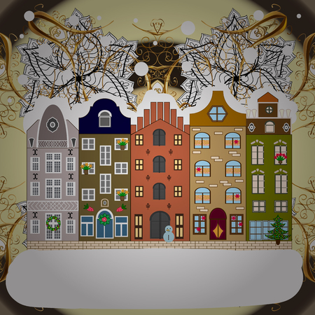 Snowfall on Christmas eve. Raster illustration. Classic European houses landscape with Christmas holiday decorations. Winter day in cosy town street scene. Buildings and facades. Raster illustration.