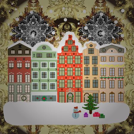 Flat design. Christmas card Happy Holidays banner. Raster illustration. Urban winter landscape. Snowy street.