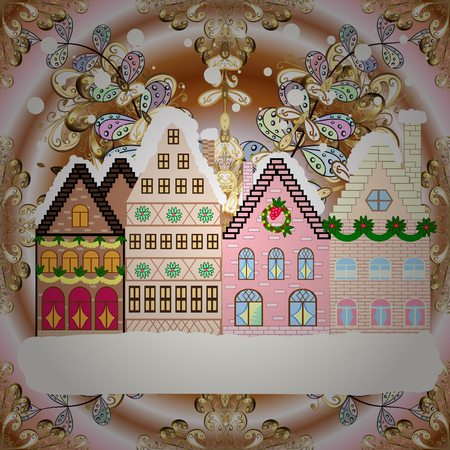 Raster illustration. Village in Christmas, banner on background with snow and snowflakes. Greeting card.