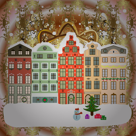Raster illustration Winter village night Christmas background.