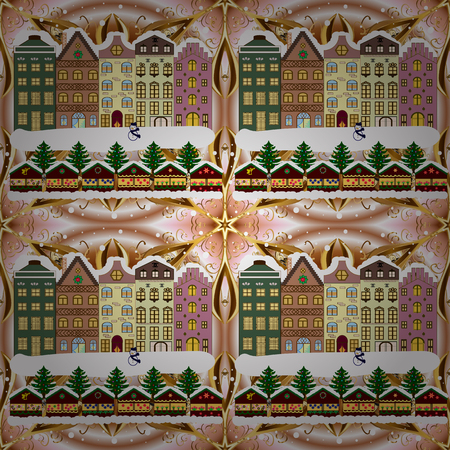 Buildings and facades. Snowfall on Christmas eve. Raster illustration. Classic European houses landscape with Christmas holiday decorations. Raster illustration. Winter day in cosy town street scene. 일러스트