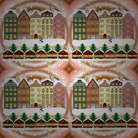 Winter village landscape. Raster illustration. Background.