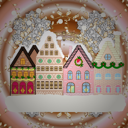 Cityscape. New year holidays. Cute town Christmas eve. Raster. Winter houses, road, tree. Raster. Winter nature landscape. Winter in the city, christmas decor fir-trees. Greeting card, poster design.