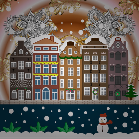 Holidays Raster illustration. Evening city winter landscape with snow cove houses and christmas tree. Ilustrace