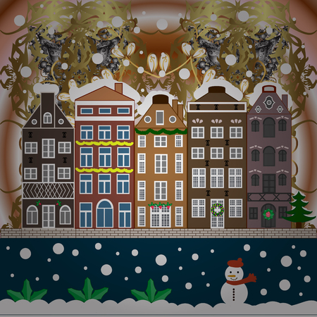 Holidays Raster illustration. Evening city winter landscape with snow cove houses and christmas tree. Illustration