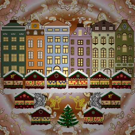 Raster illustration. Holiday background with a christmas tree and houses over a background.