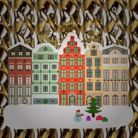 Raster illustration. Winter day in cosy town street scene. Classic European houses landscape with Christmas holiday decorations. Buildings and facades. Raster illustration. Snowfall on Christmas eve.