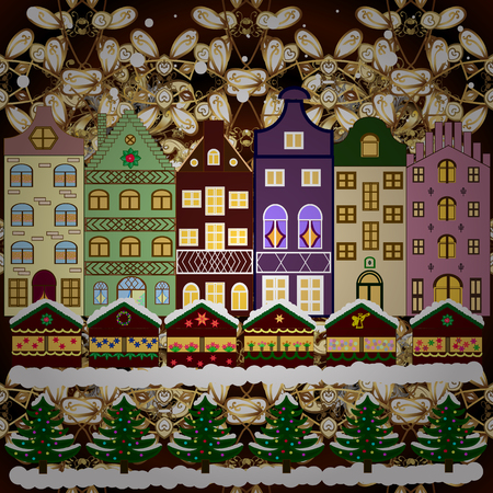 Over a background. Winter city with trees, cute houses. Holidays Raster illustration. Raster illustration. Winter is coming. Nature landscape. Landscape with nature and houses. Illustration
