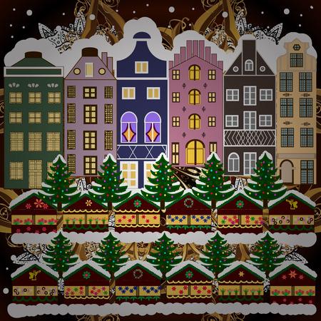 Maison d'hiver. Carte de voeux de Noël et bonne année. Illustration de raster plat. Banque d'images - 93147887