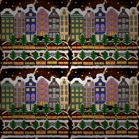 Holidays Raster illustration. Evening city winter landscape with snow cove houses and christmas tree. Ilustração