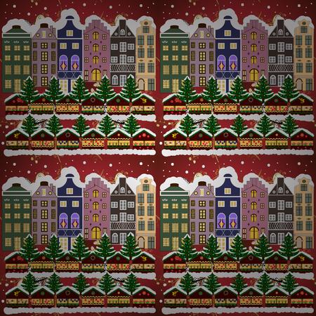 Raster illustration. Night raster Winter, Christmas urban landscape. Banque d'images - 93139244