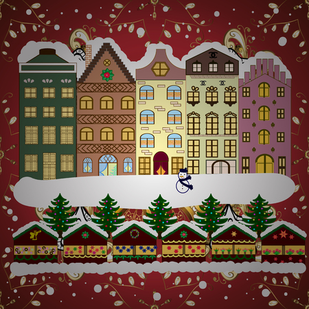 Holidays Raster illustration. Evening city winter landscape with snow cove houses and christmas tree.