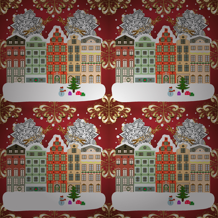 A house in a snowy Christmas landscape at night. Concept for greeting or postal card. Raster illustration. Christmas tree and snowman.