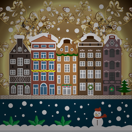 Cute town Christmas eve. Winter nature landscape. Raster. New year holidays. Greeting card, poster design. Cityscape. Raster. Winter houses, road, tree. Winter in the city, christmas decor fir-trees.