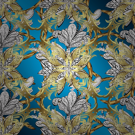 Traditional orient ornament. Ornamental classic raster golden pattern. Golden pattern on blue, white and neutral colors with golden elements. Classic vintage background.