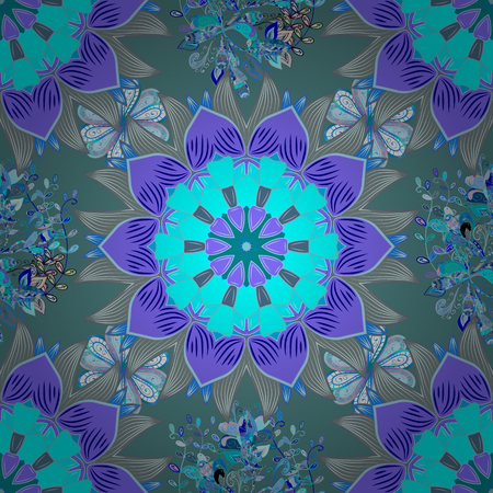 Flowers on blue, neutral and violet colors. Seamless Floral Pattern in Vector illustration. Çizim
