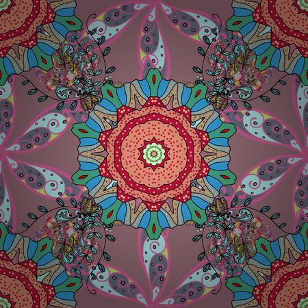 Seamless Chichi fabric pattern. Vector illustration. Flowers pattern. Flat Flower Elements Design. Colour Spring Theme seamless pattern Background. Illustration